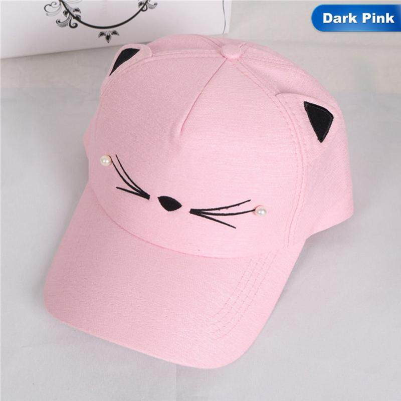 1582832ea90 BZY Girls Cute Cat Ear Pearl Embroidery Baseball Cap Rebound Summer  Adjustable Sun Hat Hip Hop