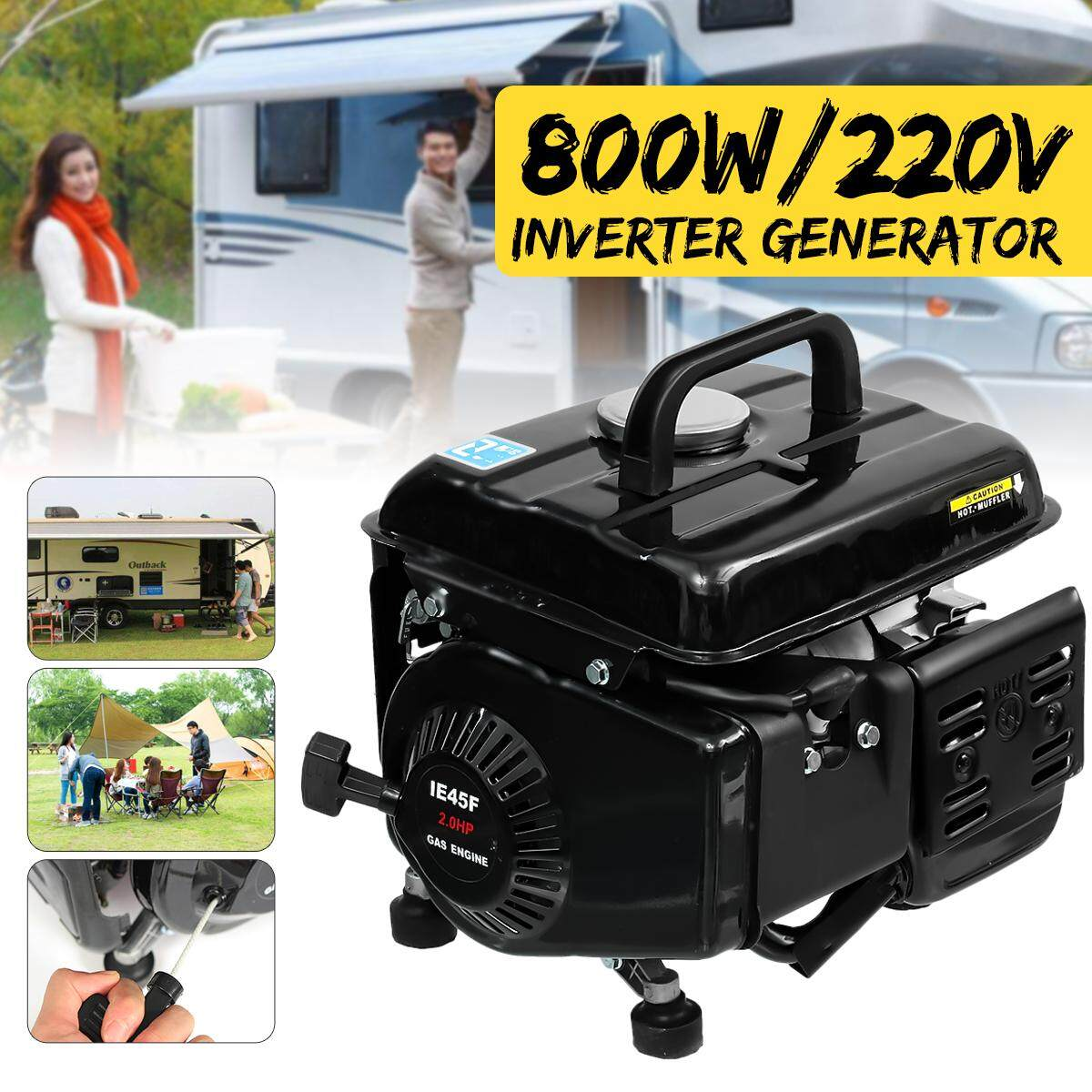 Portable Generator Gas Gasoline Powered Electric Camping RV Quiet Inverter 650W