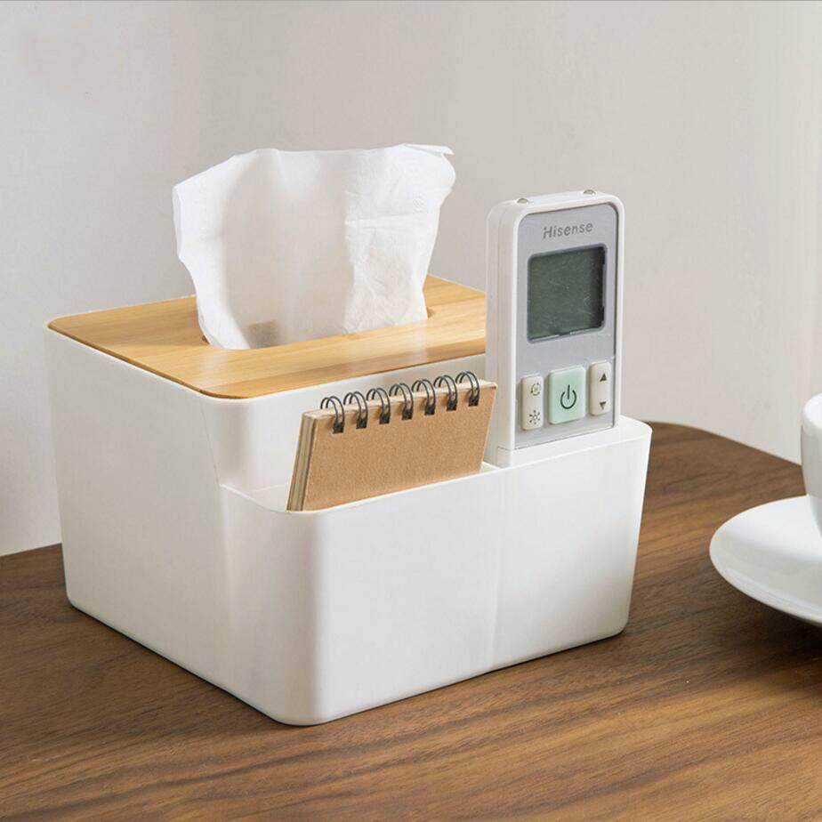 Removable Plastic Tissue Box with Oak Wooden Cover Phone Holder Napkins Case Home Organizer Decoration
