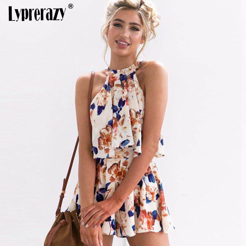 82b67d163208 Lyprerazy Women Summer Sexy Shoulder Halter Sleeveless Boho Rompers Jumpsuit  Beach Party Overalls Floral Print Chiffon