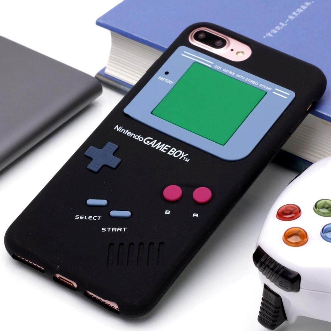 Untuk iPhone 8 PLUS dan 7 Plus Retro 3D Mesin Permainan Desain Lembut Silikon Pelindung Case (Hitam) -Internasional