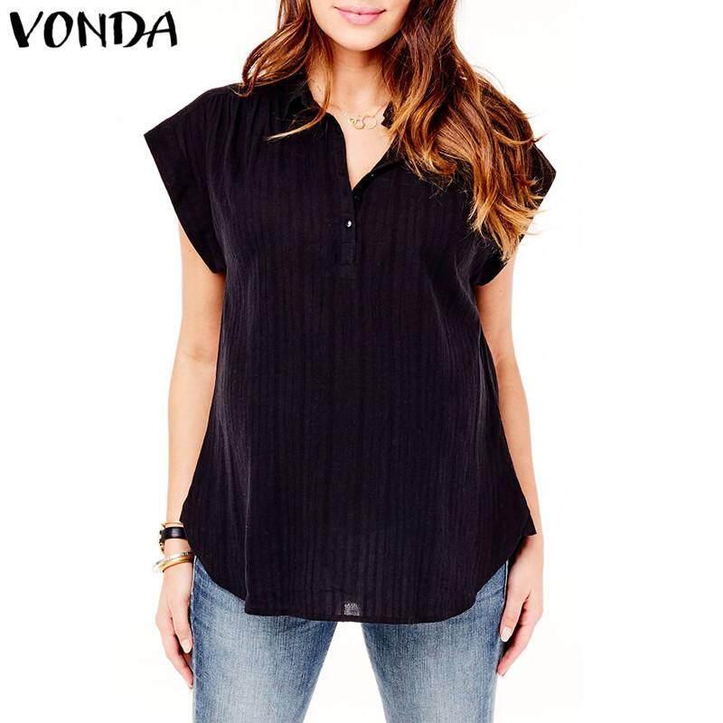 d77ab882f2384 VONDA Summer Maternity Shirt Blouse Short Sleeve V Neck Buttons Top