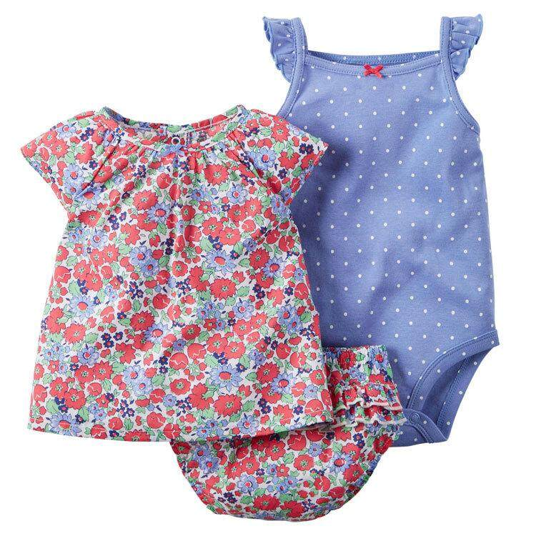 Rd 3pcs Baby Girl Cotton Clothing Set Sleeveless Romper + Short Pants + Short Sleeve Tops Outfits Gift By Redcolourful.