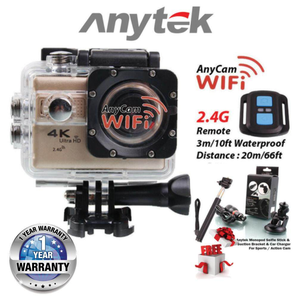 ANYTEK 4K AnyCam AC-38 3-in-1 Ultra HD Action Camera, Camera and DVR Function + 2 Gift (Mono Pod and In Car Charger Kit) (Gold/Black)