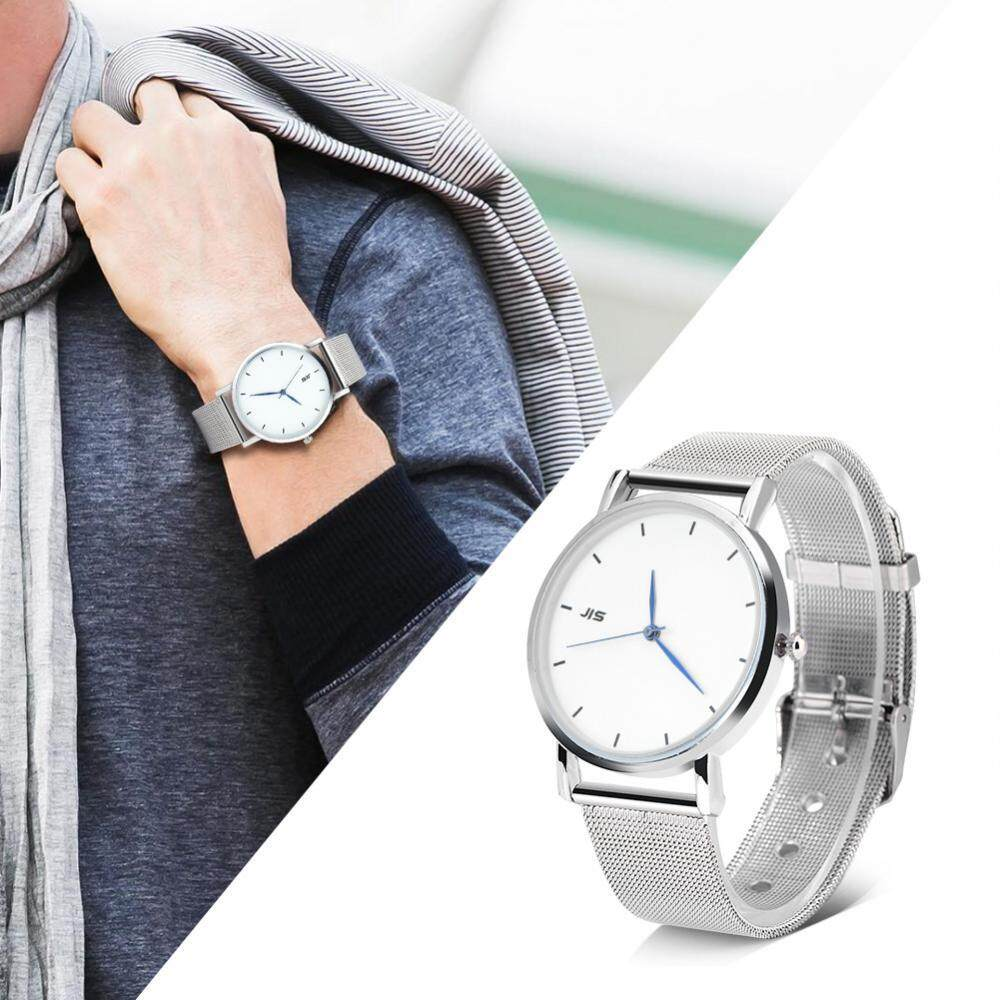 JIS Klasik Kuarsa Jam Tangan Analog Bulat Strap Logam Campuran Pecinta Jam Tangan (Putih Panggil