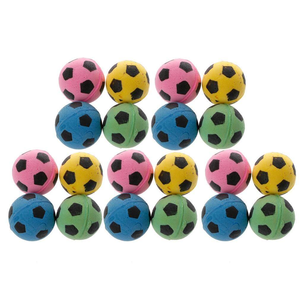 20 Pcs Non Kebisingan Kucing Bola EVA Busa Lembut Sepak Bola Bermain Bola untuk Mainan Garukan