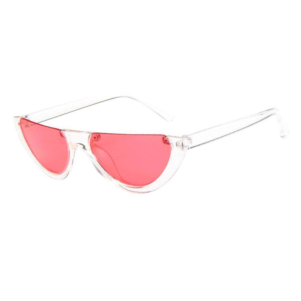 Unik Fashionable Setengah Bingkai Kacamata Hitam Snap Jalan Kacamata Pesta  Warna  Transparan Frame dan Merah 3ce65292cd