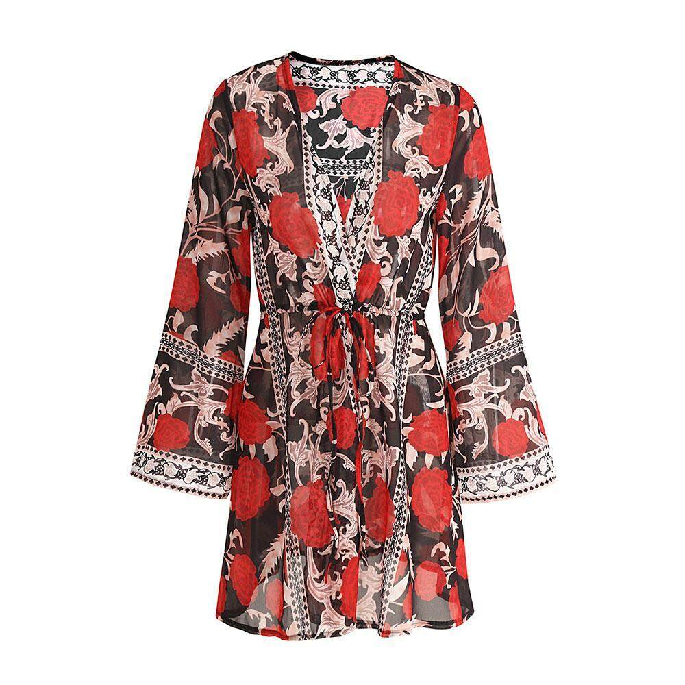 I-Cloud Ladies Summer Beach Holiday Blouse With New Style Printed Chiffon  Cardigan 776c30e846