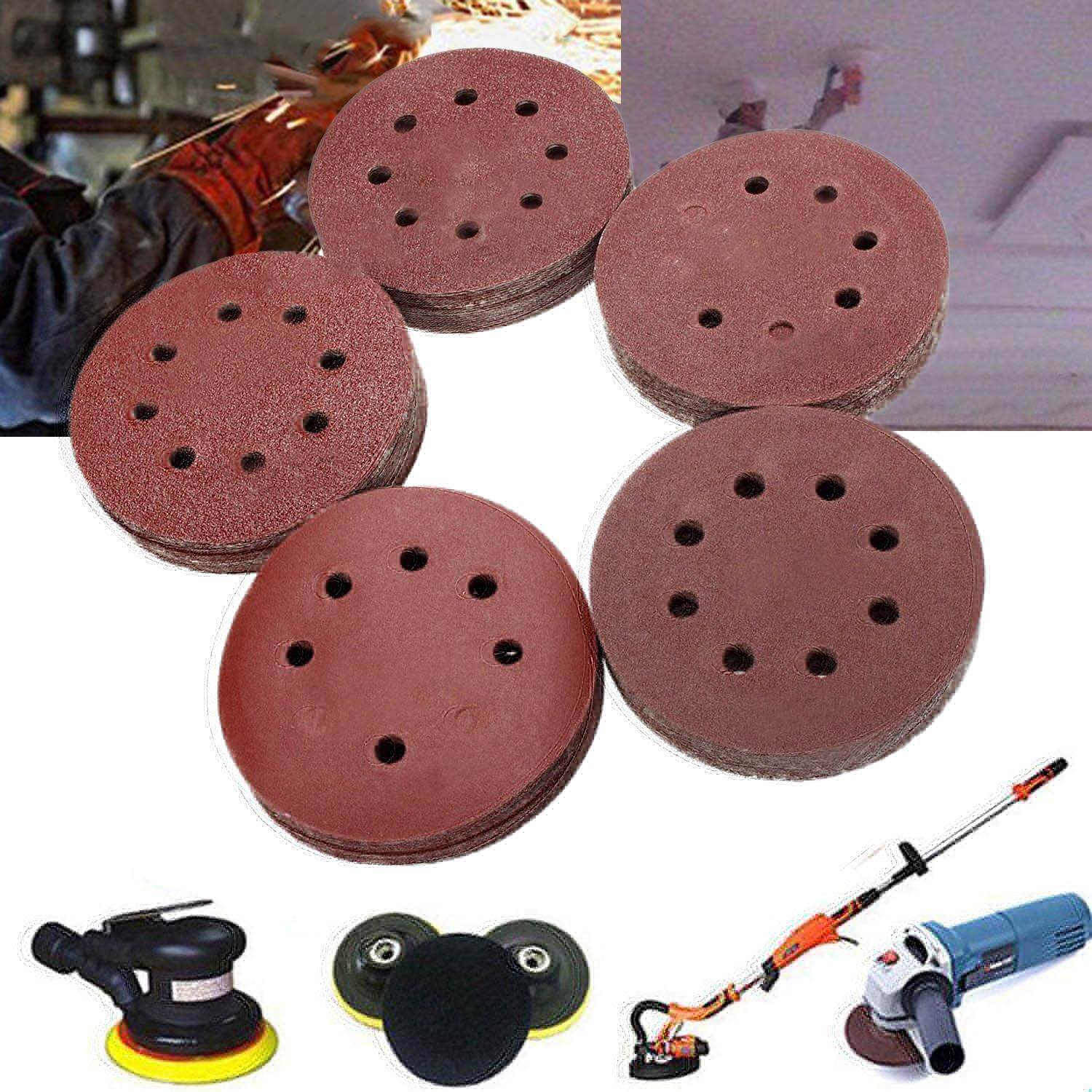 100 PCS Sanding Discs Pads Paper 60 80 100 120 240 Grits 8-Holes 125mm For Pneumatic Electric Manual Grinding Machines - intl