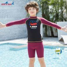 Baru Anak Baju Renang Celana Renang Anak Laki-laki Pakaian Renang Tabir Surya Baju Lengan