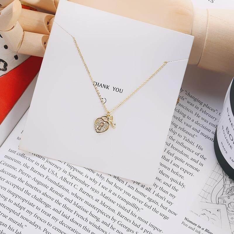 【S925 sterling silver cinta emas kunci】2018 baru s925 sterling silver kalung pendek wanita