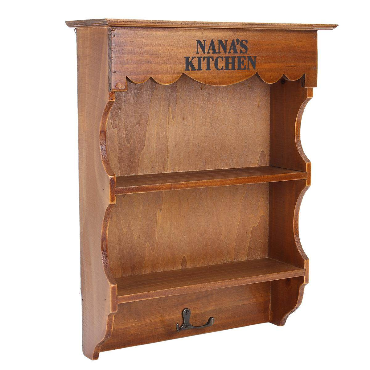 Rustic Wood Dresser Wall Storage Shelf Vintage NANAS Kitchen Shelving Hook Rack