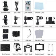 2.0 Inci Layar 170 Derajat Lebar Sudut Kamera Aksi 4 K WIFI (Hitam)-