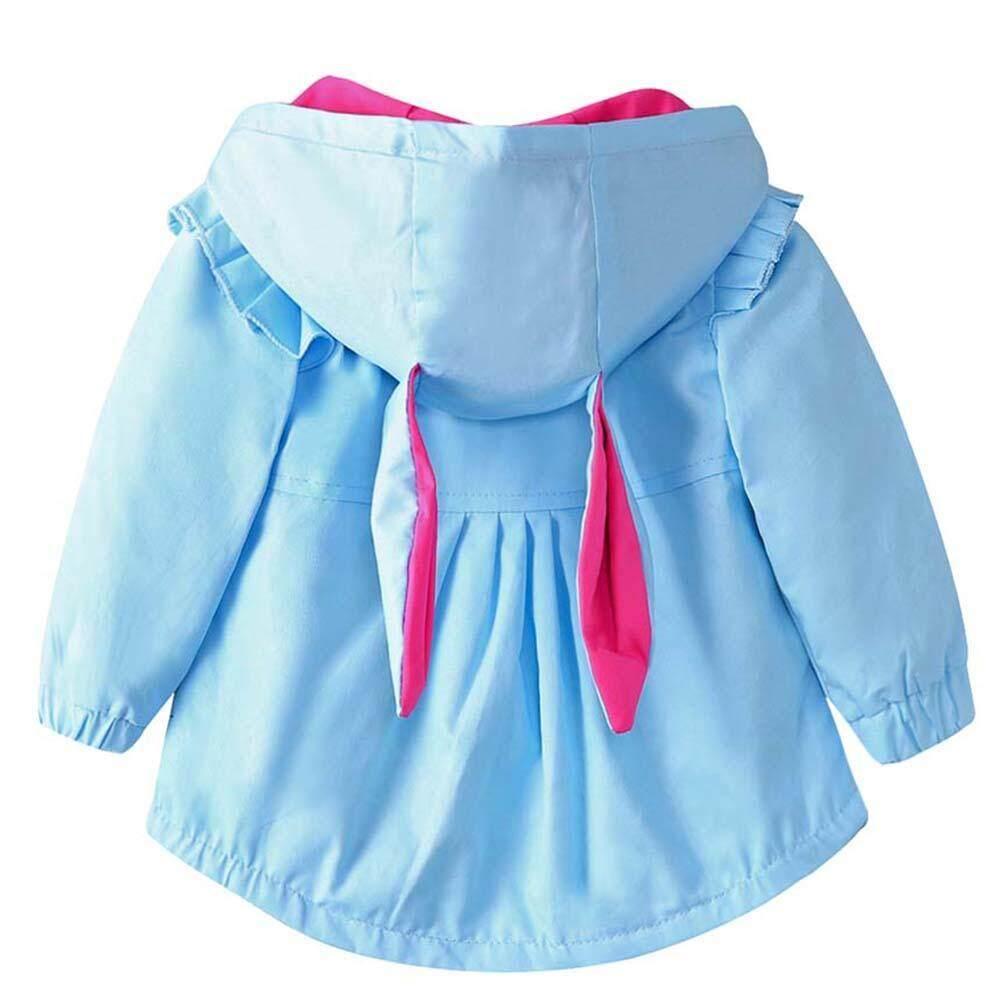 ... Gadis Musim Gugur Anak Jaket Musim Dingin Ritsleting Berkerudung Kelinci Telinga Mantel - 4 ...
