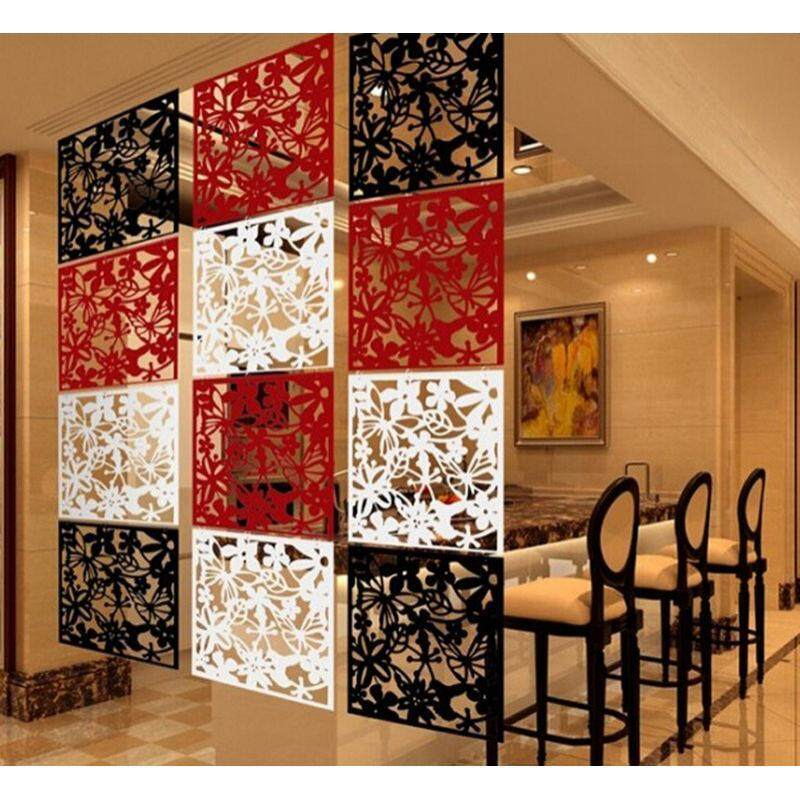 Fityle 8 Pieces Butterfly Flower Birds Pattern Hanging Screen Curtain Sitting Room Bedroom Divider Partition Wall Art Decoration