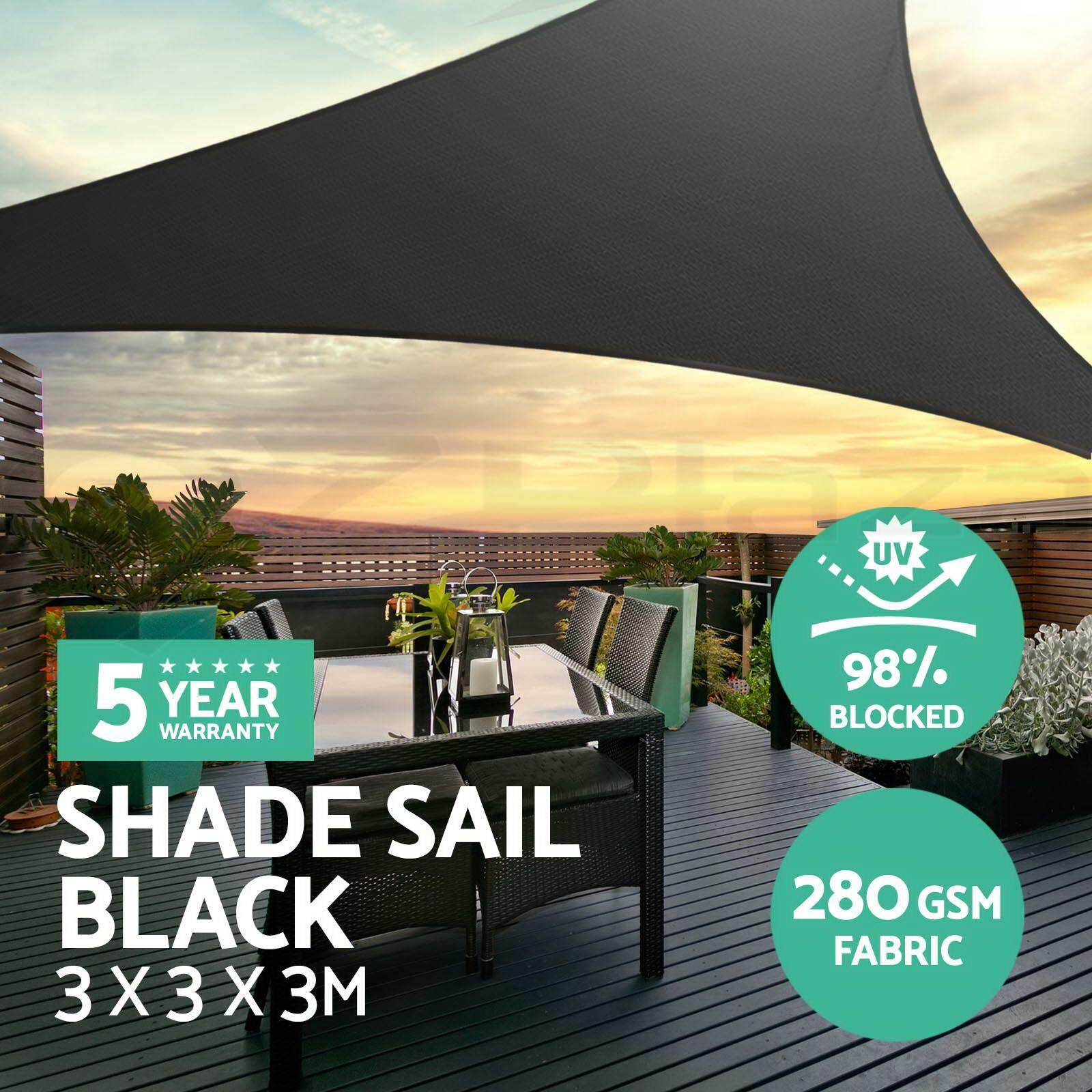 Extra Heavy Duty Shade Sail Sun Canopy Outdoor Triangle Square Rectangle Black # 3*3*3M