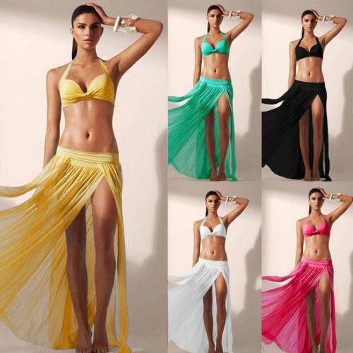 68a627cd3a Women Swimwear Bikini Cover Up Beach Maxi Wrap Skirt Sarong Pareo Dress