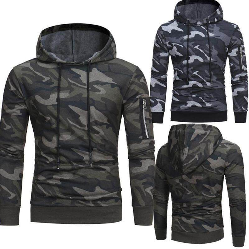 New Fashion Men Hooded Camouflage Fleece Hoodie Pullover Lone sleeve tops For Autumn Winter Blouse-