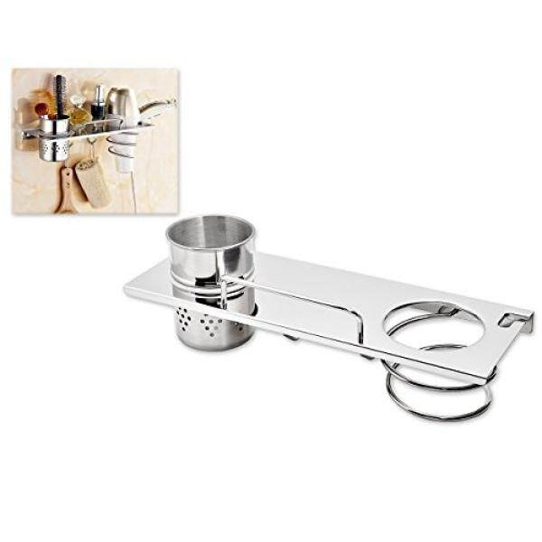 Ace Select Stainless Steel Hair Dry Holder Wall Mounted Hair Dryer Rack Hair Dryer Shelf with 2 Hooks and 1 Cup / From USA
