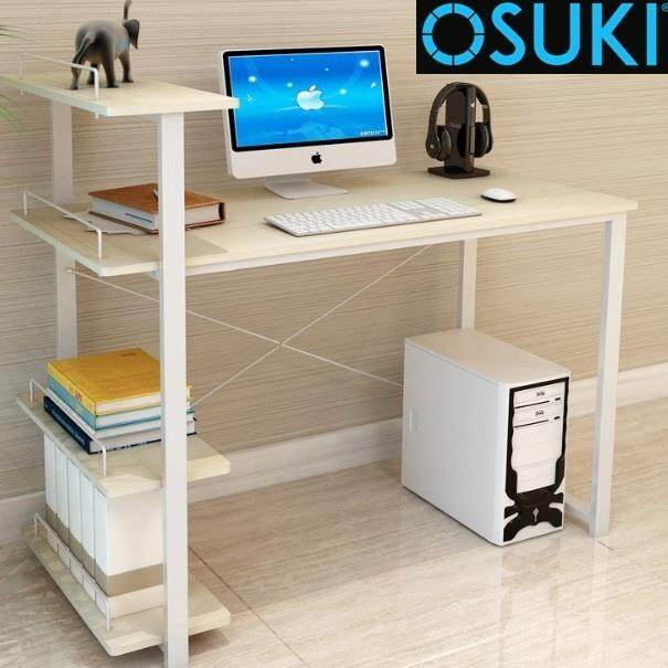 home office table.  Table OSUKI Home Office Table 120 X 54cm With Attached Shelf Wooden Inside