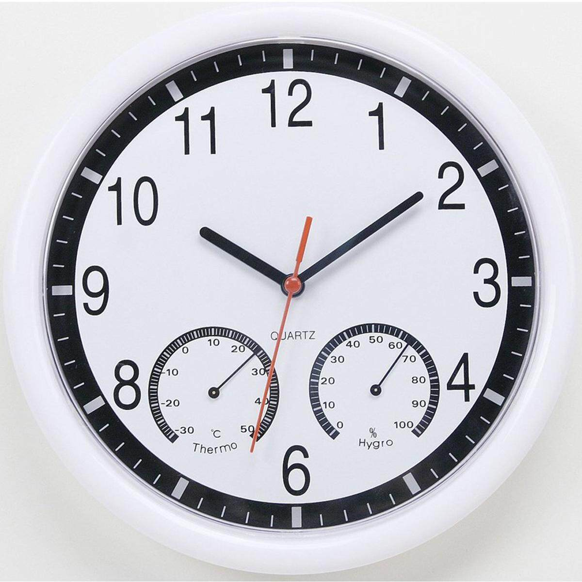 Silent Modern Living Home Kitchen Office Wall Clock Thermometer & Humidity 25cm