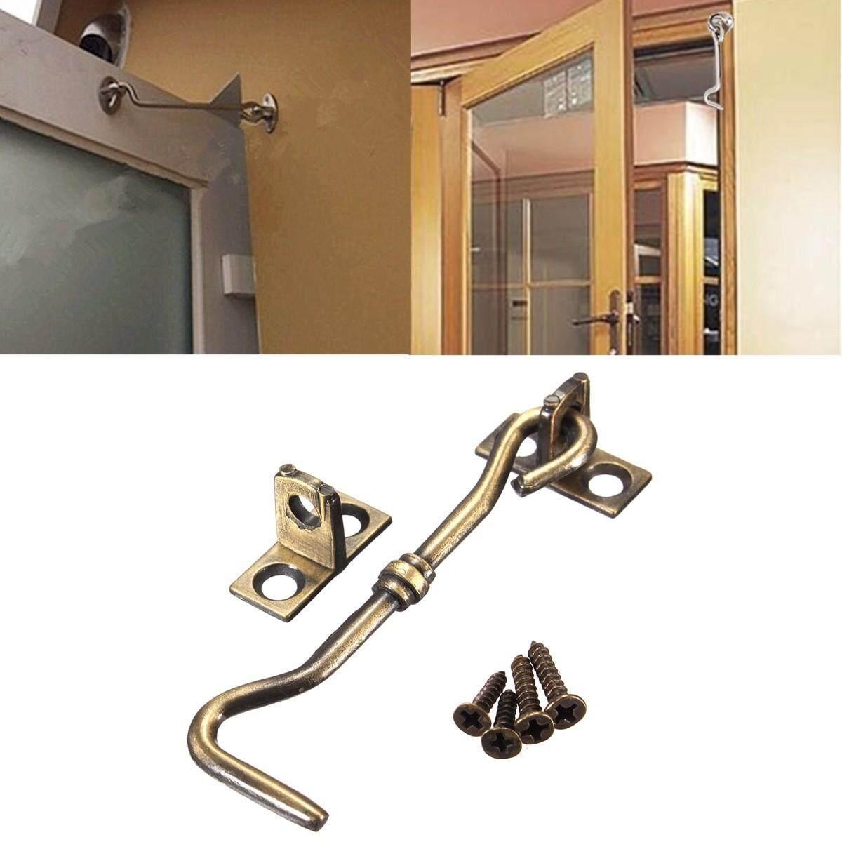 20pcs 3 Cabinet Door Showcase Holder Window Latch Hook & Eye Wind-Proof Silent Lock Bronze - intl