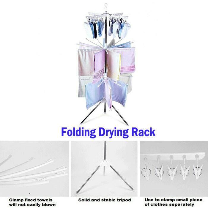 Folding Drying Rack - 3 Tiers Folding Portable Laundry Stand Drying Rack Tripod Clothes Racks