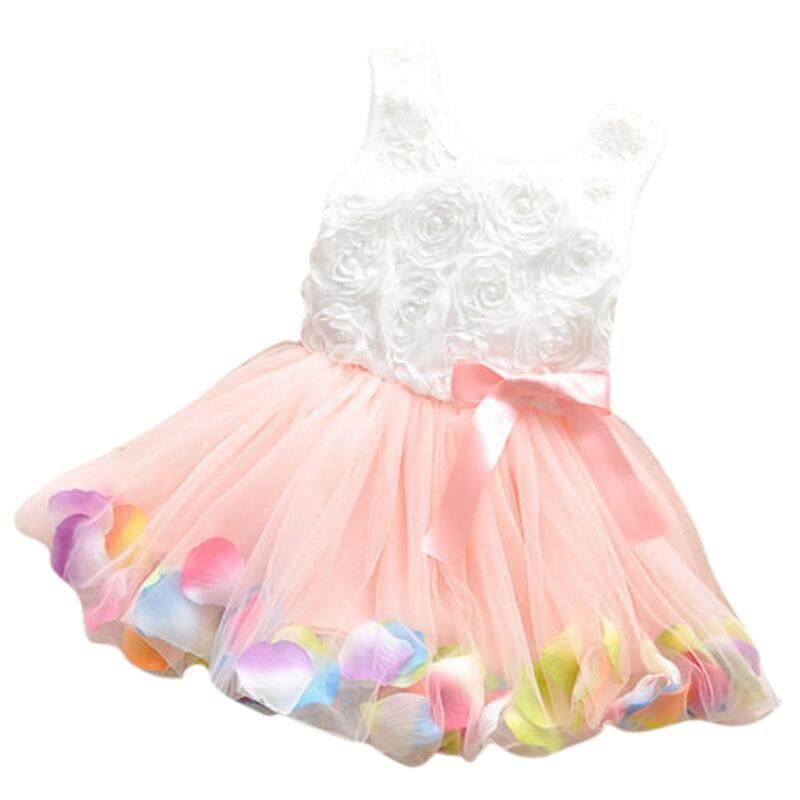 4edfac5078a1 Baby Girl Toddler Occasion Party Wedding Birthday Flower Summer Kids Dress  pink 100