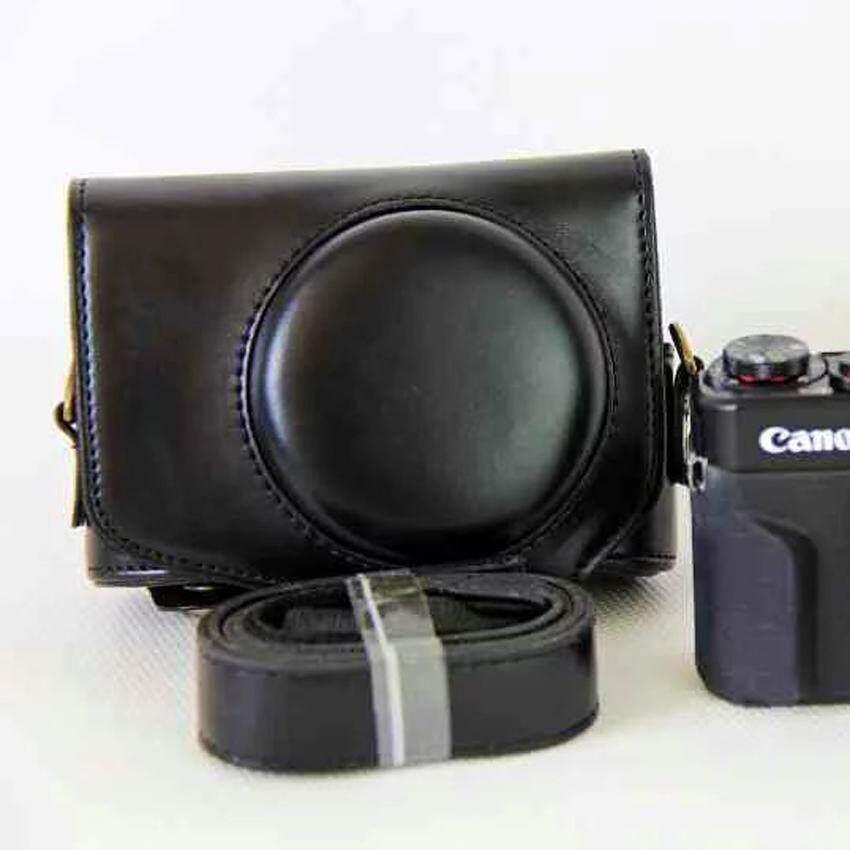 J Hex Hot Penjualan Kamera untuk Canon G7X II Kelas Tinggi Kulit PU Perlindungan Menyeluruh Alas Bisa Dilepas dengan Strap Bahu-Intl