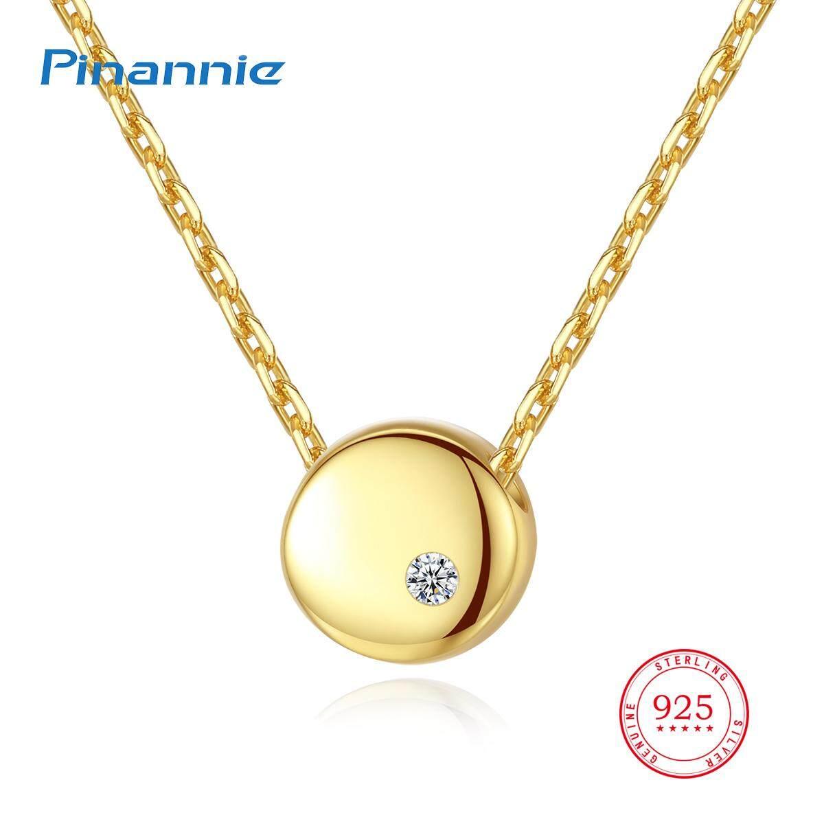 Pinannie AAA Kelas Zirkon Perhiasan Asli 925 Sterling Perak Kalung untuk Wanita