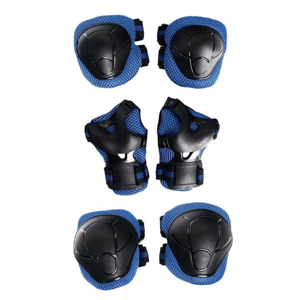 Magideal 6 Pcs Kid Child Roller Skating Bicycle Helmet Knee Wrist Guard Elbow Pad Blue By Magideal.