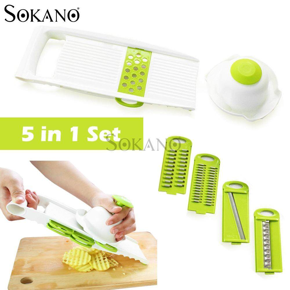 SOKANO CF1066 5-In-1 High Quality Vegetables Grater Portable Slicer Set (Blades Interchangeable)