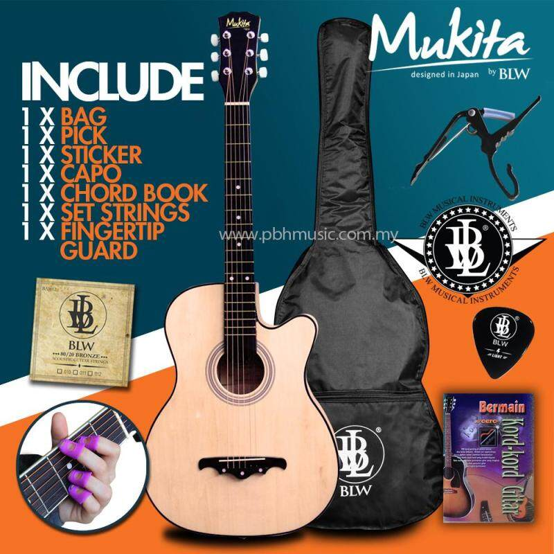 Mukita by BLW Standard Acoustic Folk Cutaway Basic Guitar Package 38 Inch for beginners with Bag, String Set, Fingertip Guard, Capo, Chord book, Pick and Merchandise Sticker (Natural) Malaysia