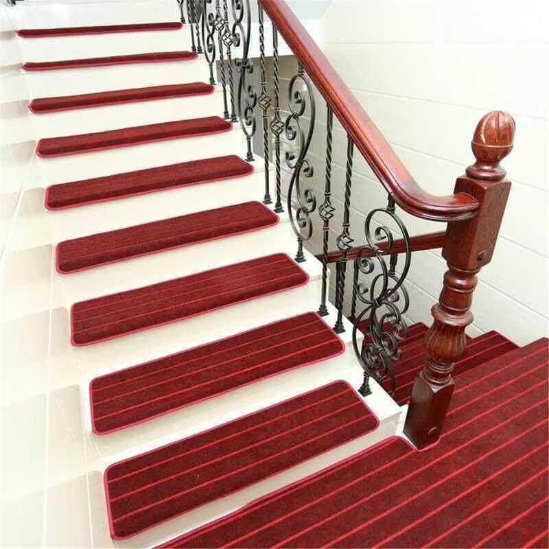 Thảm trải sàn cầu thang, 1 miếng lót bảo vệ chống trượt, chống trơn trượt, thanh màu đỏ