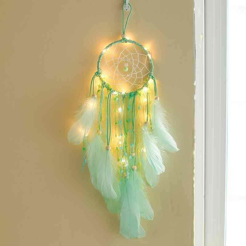 52cm Handmade Dream Catcher Net with Feathers Wind Chimes Wall Hanging Dreamcatcher Craft Gift with Lamp