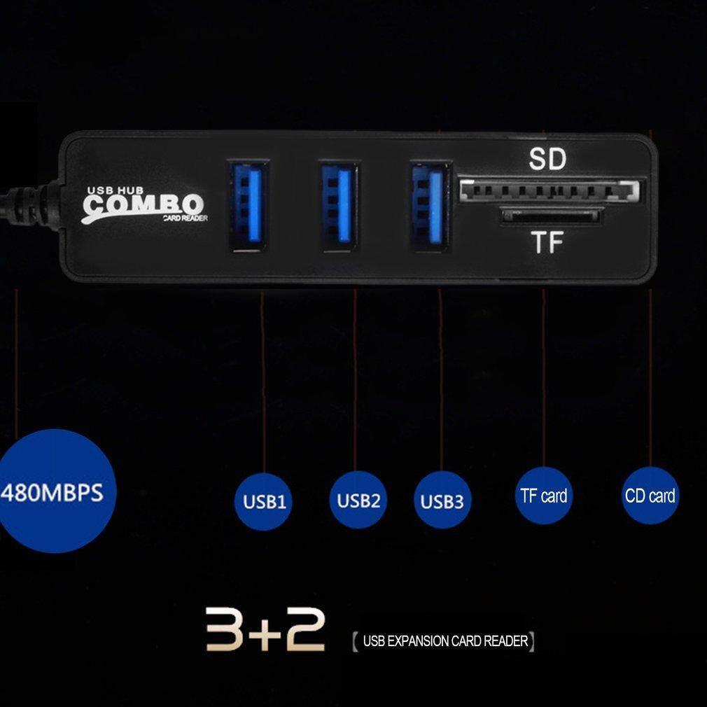 USB Hub Combo 3 Ports High Speed USB 2.0 Hub Splitter 2 In 1 SD/TF Card Reader(TYPE-C/Blakc) - intl