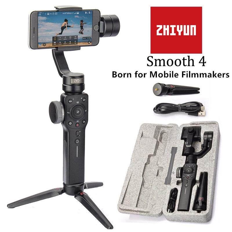 Zhiyun Halus 4 3 AXIS Handheld Stabilizer Gimbal Phonego Mode untuk iPhone X/8 Plus/7/SE Samsung Galaxy S9 + /S8/S7/S6 Huawei (Hitam)