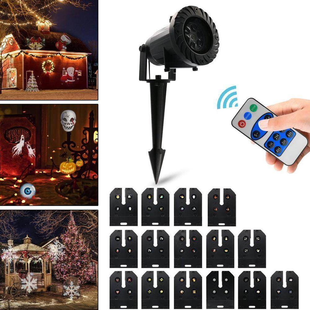 Qimiao 15PCS Lens Projection Lamp Remote Control Household Decorative Night Lights Christmas Festival Props Specification:British regulatory Power:6W - intl