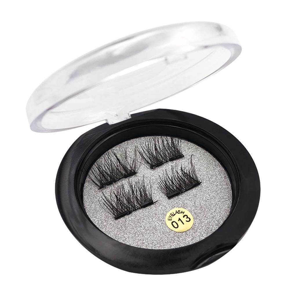 4pcs/Box 6D Natural Double Magnet ​False Eyelash Magnetic ​Fake Eye Lashes(Black)- - intl Philippines
