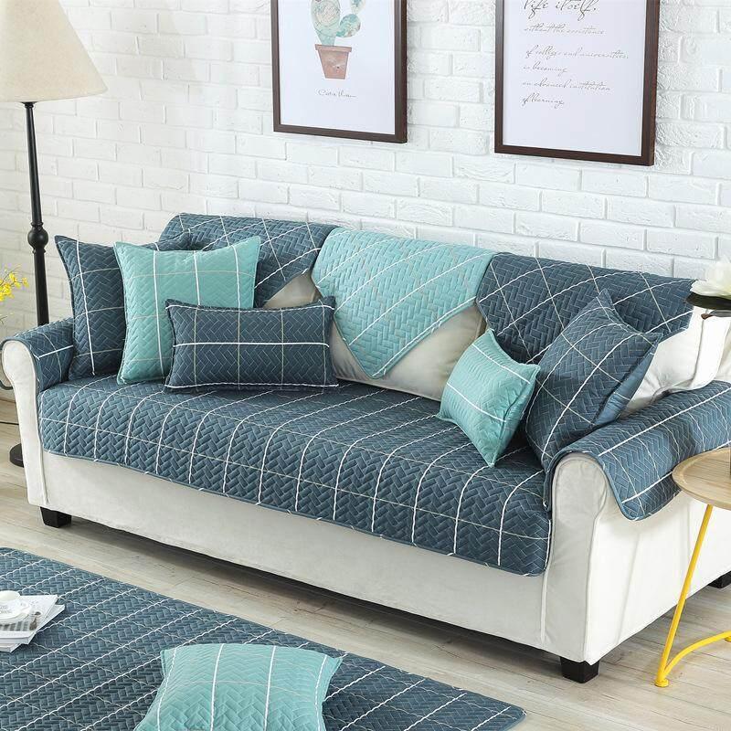 Nordic Style Magical Sofa-cover Corner Fabric Double Towel Non-slip Sofa Cover Set Slip Cover Sofa Cover#90 x160cm Dark blue