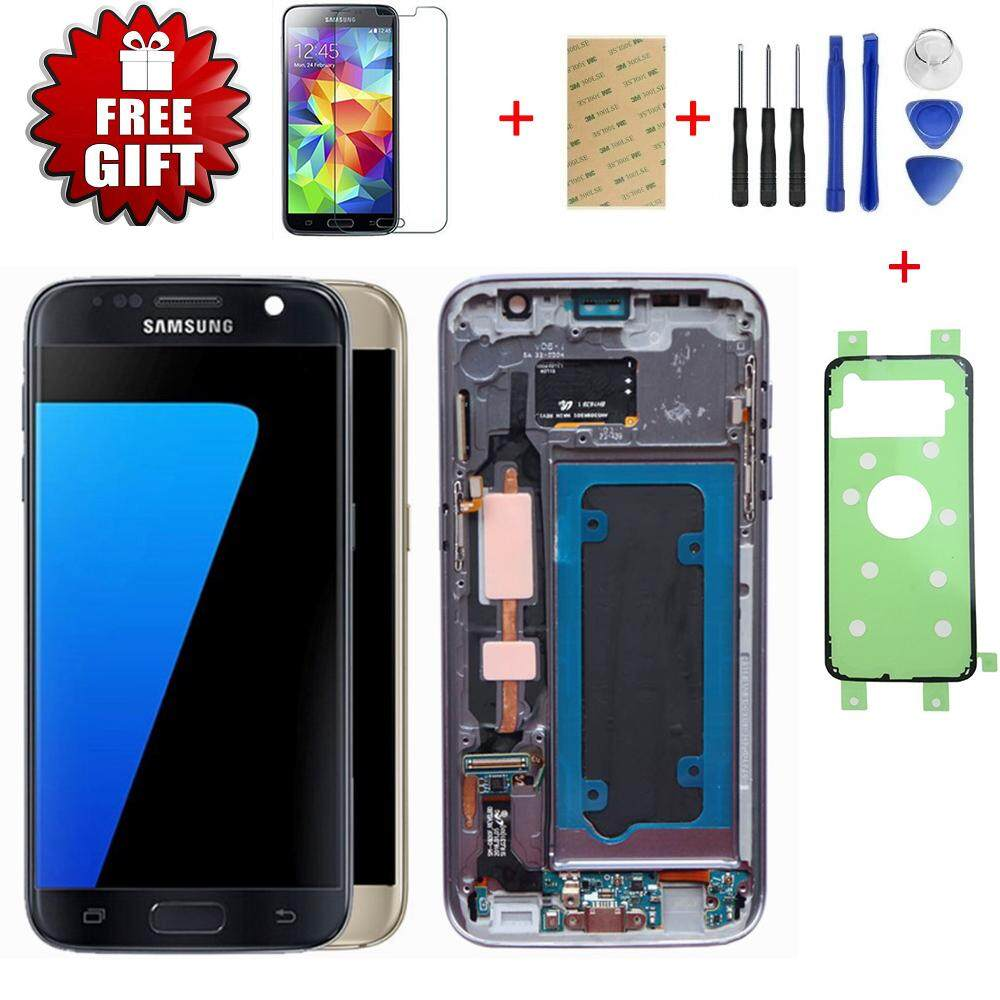 ORIGINAL 5.1'' SUPER AMOLED Display for SAMSUNG Galaxy S7 LCD G930 G930F Touch Screen Digitizer with Frame Replacement Parts