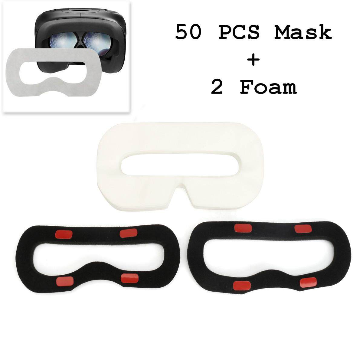 50pcs Disposable Sanitary Facial Mask/eye Mask+ 2 Foam For Htc Vive Vr Headset By Glimmer.