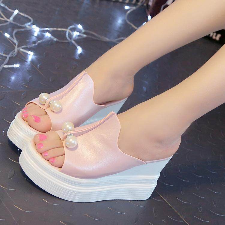 80b192165d6273 Women High Heel Open Toe Slippers Wedge Platform Sandals Casual Slip on  Shoes - intl