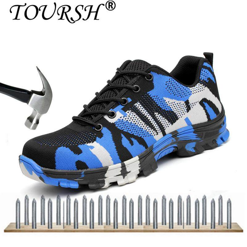 37cd446ab7549 TOURSH Men Safety Work Boots Camouflage Breathable Mesh Steel Toe Casual Shoes  Mens Labor Insurance Puncture