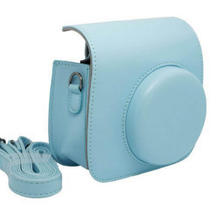 Kulit PU Pelindung Kamera Sarung Tas Bahu Penutup untuk Fujifilm Instax Mini8 Instan Film Kamera Biru