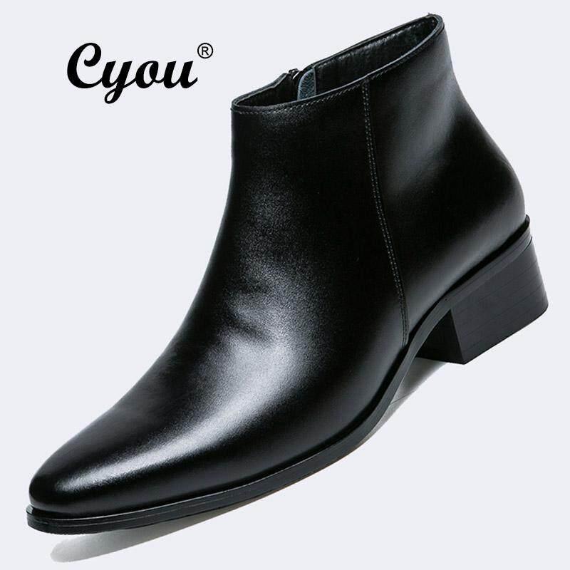 c472b8ab70 Cyou Men s New Fashion Ankle Straps Comfortable Casual Ankle Boots Shoes  Genuine Leather Kasut Lelaki Black