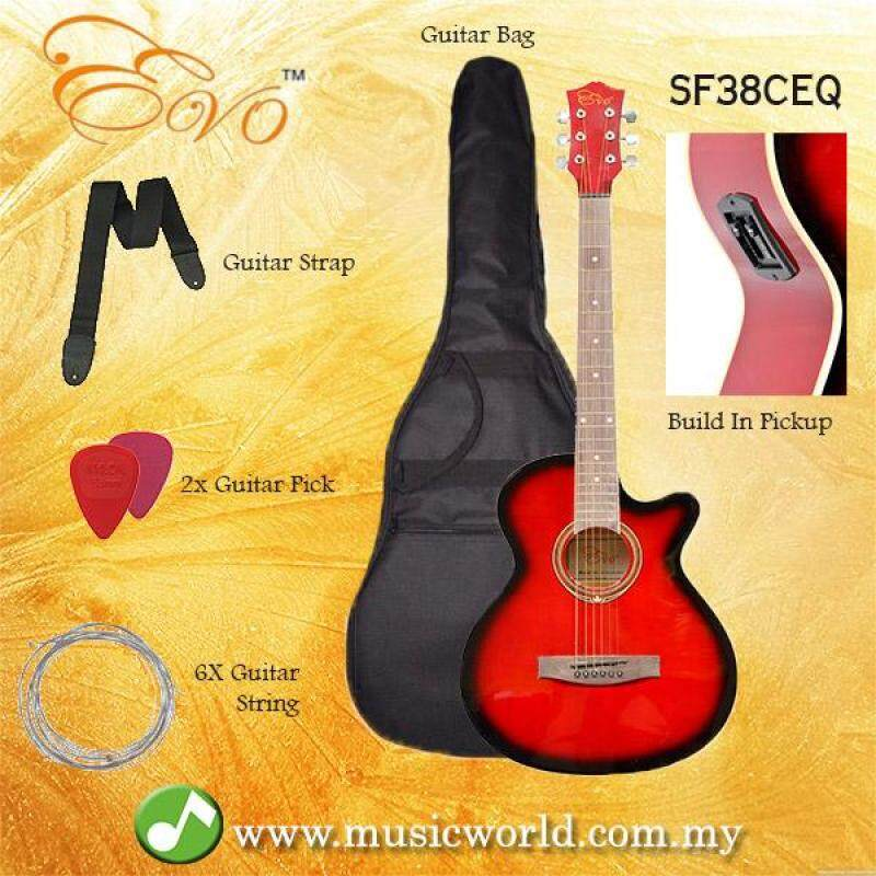 EVO SF38CEQ RED Acoustic Guitar With Pickup 38 Inch Beginner Guitar Pick Up Student Guitar Free Bag String Pick Strap Malaysia