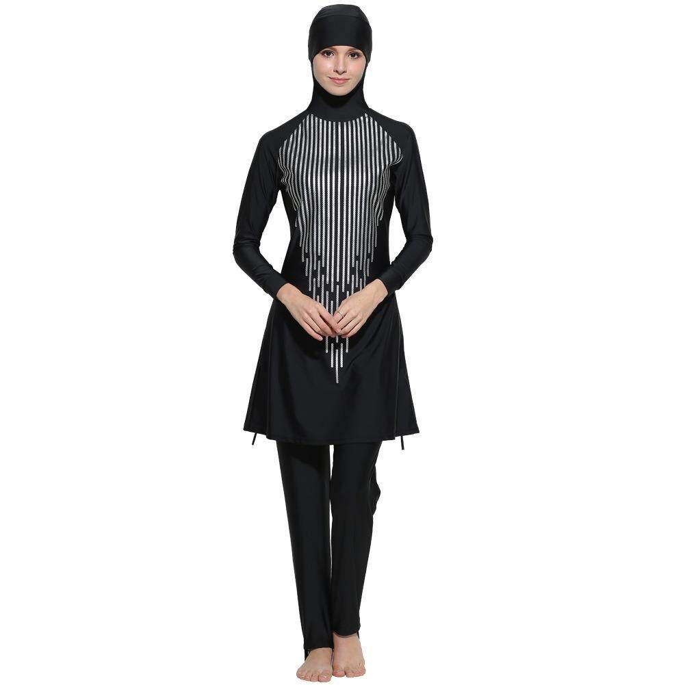 2018 Wanita Plus Ukuran S-4XL Muslim Baju Renang Pantai Mandi Setelan Wanita Konservatif Muslimah Baju Renang Islami Berenang Berselancar Pakaian Olahraga Pakaian -Internasional