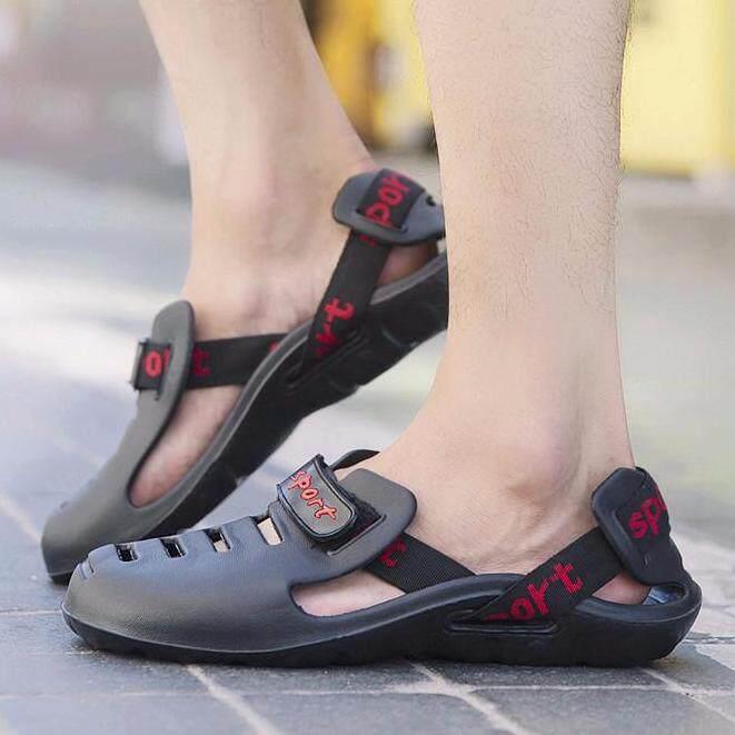 Yuzi Sandal Pria Pantai Sepatu Sandal Keren Non-Slip Hitam-Intl