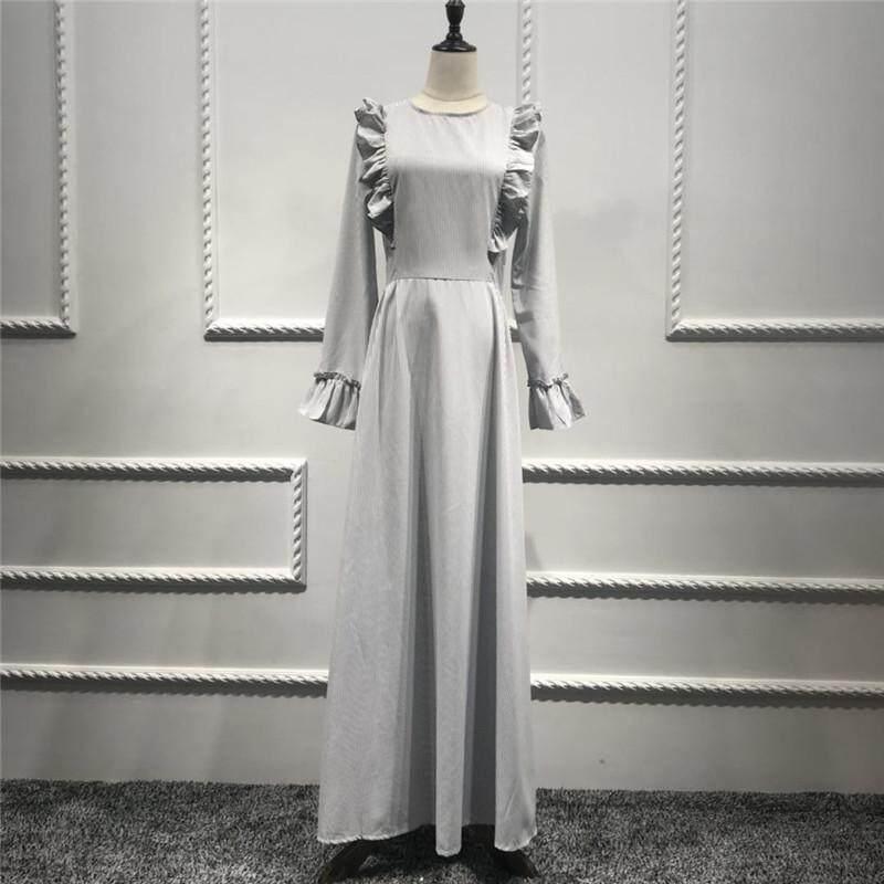 Women Maxi Long sleeve Dress Malaysia Abayas Muslim Robes